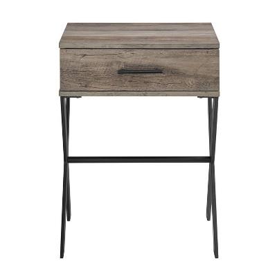 jones rustic modern 1 drawer x leg side table gray wash saracina home