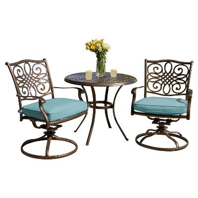 traditions 3pc metal patio bistro set blue hanover