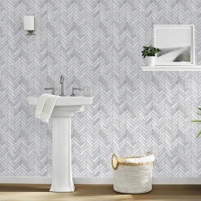 marble herringbone tile peel stick wallpaper gray threshold