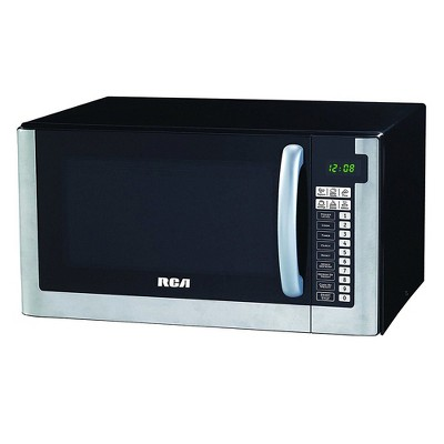 rca rmw1203 1000 watt 1 2 cubic foot kitchen countertop microwave oven with digital touch controls and 10 power levels stainless steel