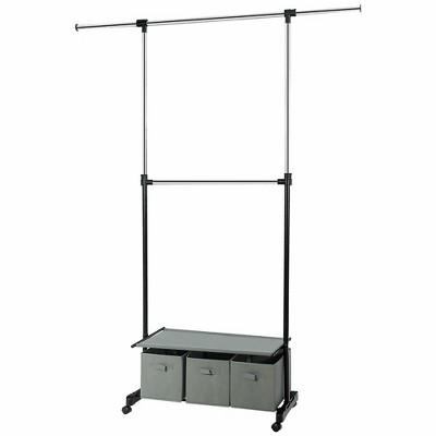 costway 2 rod adjustable garment rack rolling clothes organizer w shelf storage boxes