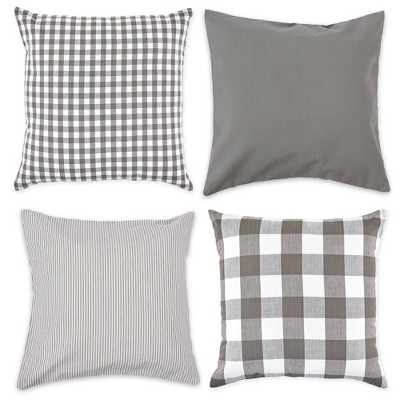 4pk 18 x18 assorted square throw pillow covers gray white design imports