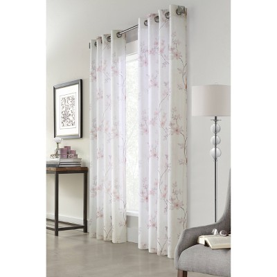 84 x50 bloom floral printed light filtering window curtain panel off white habitat
