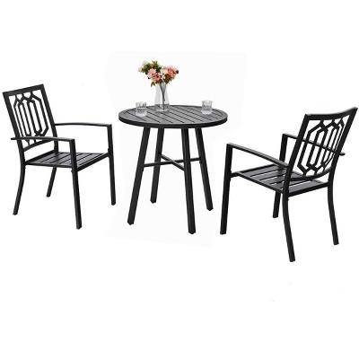 3pc metal outdoor bistro set black captiva designs
