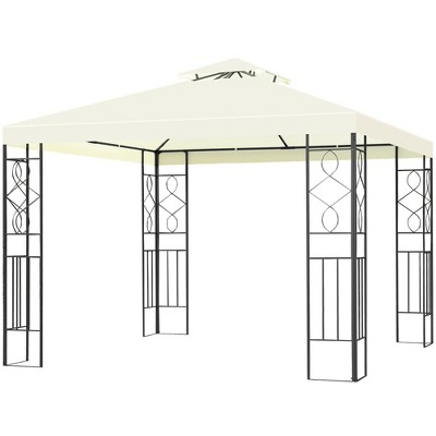 costway 2 tier 10 x10 patio gazebo canopy tent steel frame shelter awning