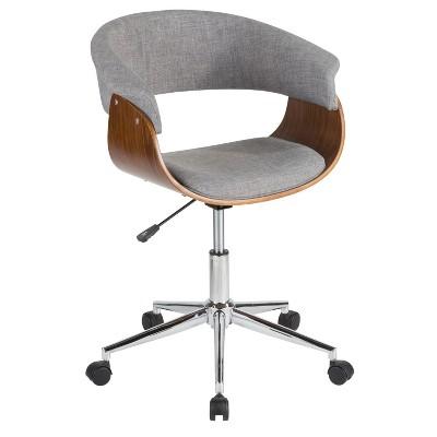 vintage mod mid century modern office chair walnut gray lumisource