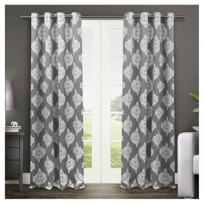 set of 2 84 x52 medallion blackout thermal grommet top window curtain panels dark gray exclusive home