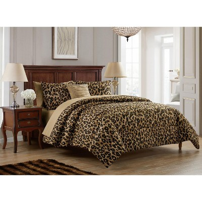 vcny home cheetah reversible bed in a bag comforter set brown 8 piece king