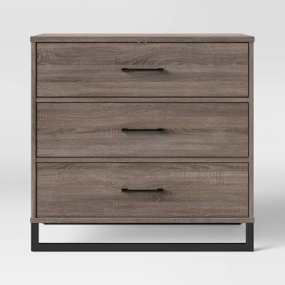 mixed material 3 drawer dresser gray room essentials