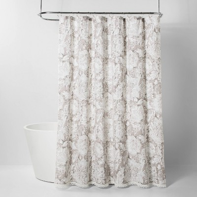 jacobian floral print with lace trim shower curtain gray threshold