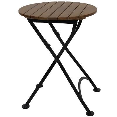 sunnydaze indoor outdoor european chestnut wood folding round patio bistro dining table 24 brown
