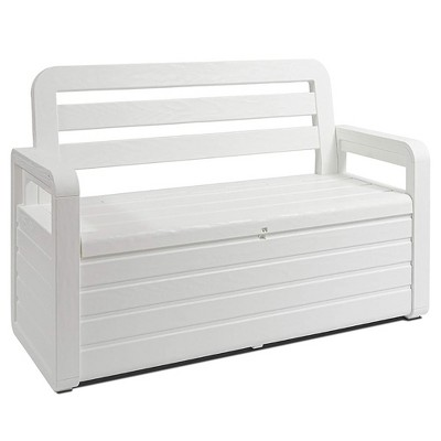 toomax z599e108 foreverspring uv weather resistant lockable box chest bench for outdoor pool patio furniture and deck storage bin 70 gallon white