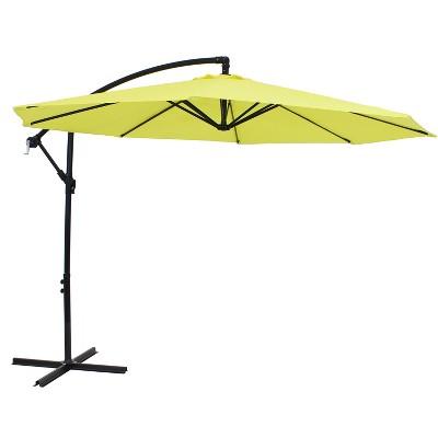 sunnydaze outdoor steel cantilever offset patio umbrella with air vent crank and base 9 sunshine