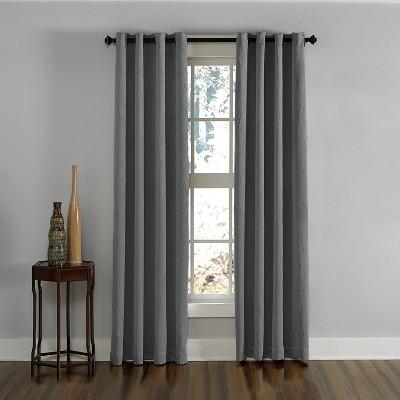 132 x50 lenox gommet top room darkening curtain panel gray curtainworks