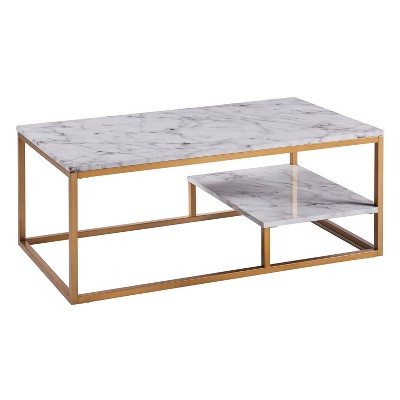 marmo coffee table faux marble brass versanora