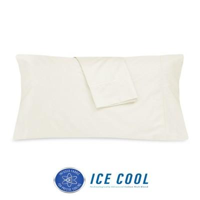 sensorpedic 400 thread count ice cool cotton rich standard pillowcase 2 pack cream