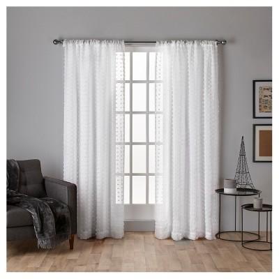 set of 2 84 x54 spirit woven pouf applique sheer rod pocket window curtain panel white exclusive home