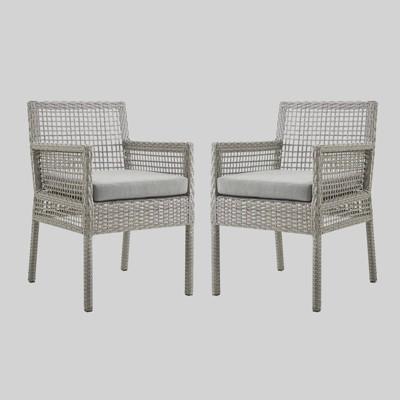 aura 2pk outdoor wicker rattan patio dining armchair gray modway