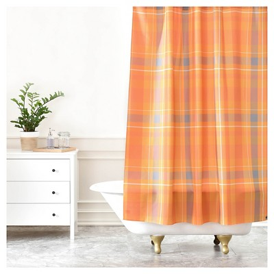allyson johnson fall time plaid shower curtain pumpkin deny designs