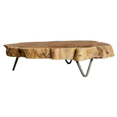 raw edged wood slab with metal feet