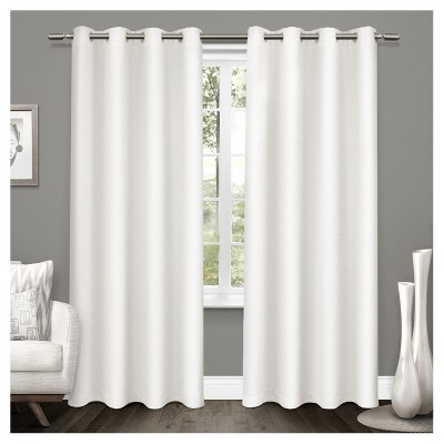 set of 2 84 x52 tweed textured linen woven blackout grommet top window curtain panel white exclusive home