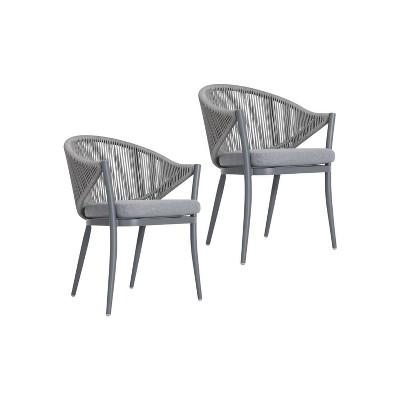 2pc outdoor aluminum rope chairs gray nuu garden