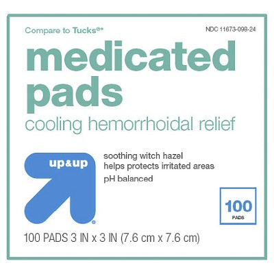 medicated hemorrhoidal pads 100ct up up