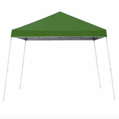z shade 10 x 10 foot angled leg instant shade outdoor canopy tent portable gazebo shelter for camping or backyard grilling green