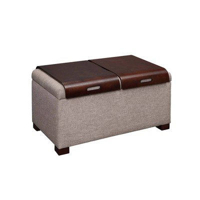 storage ottoman with trays tan faux linen breighton home