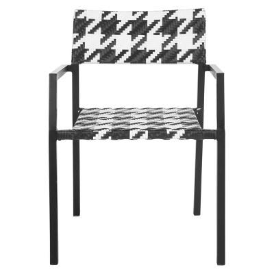 sardina 2pk wicker patio chair set black white safavieh
