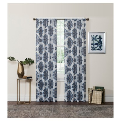 Olivia Thermaweave Blackout Curtain Panel Blue 37x84 Eclipse Target