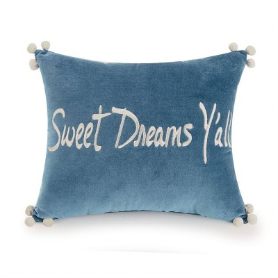 10 x12 tallulah sweet dreams y all throw pillow blue white jessica simpson