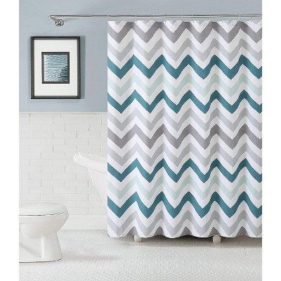 kate aurora living 100 cotton chevron fabric shower curtains aqua