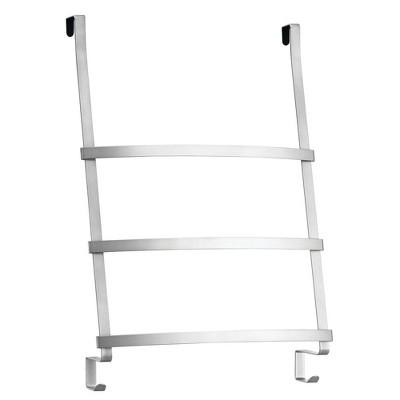 mdesign metal over shower door towel rack holder for bathroom 2 hooks chrome