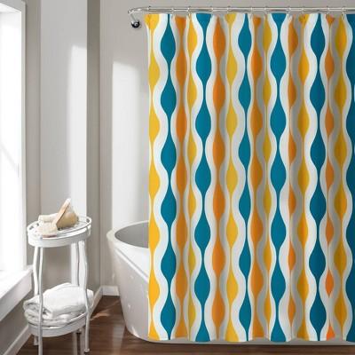mid century geo shower curtain turquoise orange lush decor