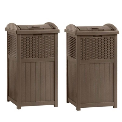 suncast ghw1732 15 75 x 16 x 31 6 trashcan hideaway outdoor commercial 33 gallon 31 6 resin garbage waste bin with lid in brown for garage 2 pack