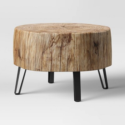 buchanan faux concrete stump coffee table brown threshold