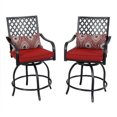 2pc outdoor extra wide swivel bar stools captiva designs