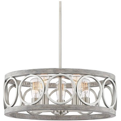 franklin iron works brushed nickel wood pendant chandelier 21 1 4 wide modern farmhouse led 5 light fixture for dining room house
