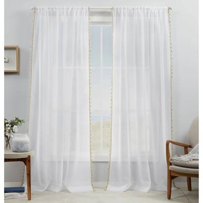 set of 2 84 x54 tassels embellished sheer rod pocket curtain panel linen exclusive home