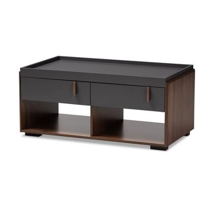2 drawer rikke two tone wood coffee table gray baxton studio