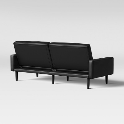 faux leather futon sofa with arms black room essentials
