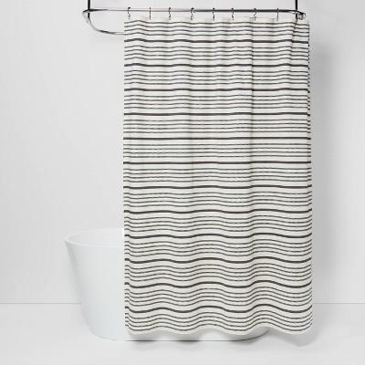 striped shower curtain black white threshold