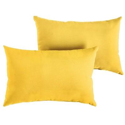 sunbrella 2pk outdoor lumbar throw pillows sunflower yellow