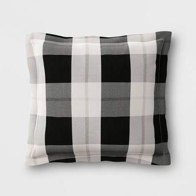 woven plaid outdoor pillow back cushion duraseason fabric black threshold