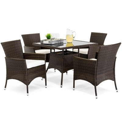 best choice products 5 piece indoor outdoor wicker patio dining table furniture set w umbrella cutout 4 chairs cream
