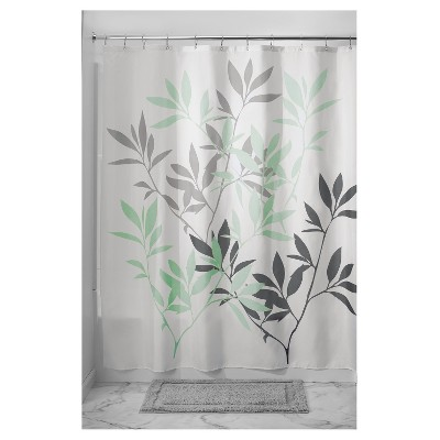 leaves shower curtain white green idesign