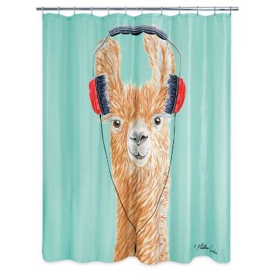 headphone llama shower curtain teal brown allure home creations