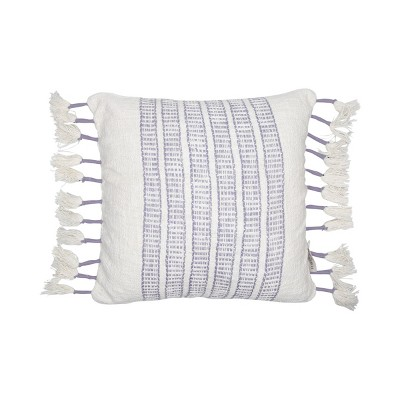 purple and white hand woven 18 x 18 inch decorative cotton throw pillow cover with insert and hand tied roped tassels foreside home garden