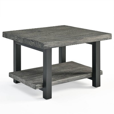 27 pomona metal and reclaimed wood square coffee table slate gray alaterre furniture